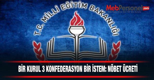 BİR KURUL 3 KONFEDERASYON BİR İSTEM: NÖBET ÜCRETİ