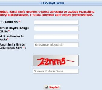 e-lys kayıt formu