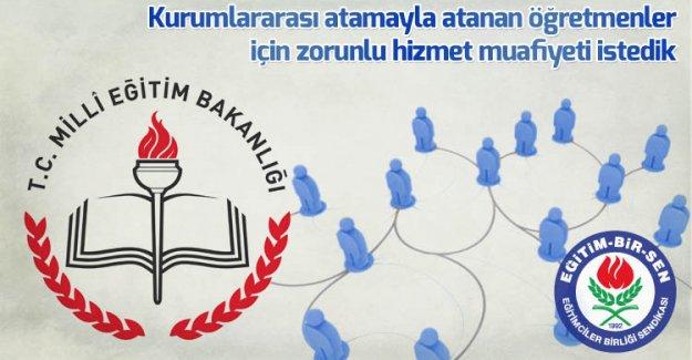 EBS, kurumlararası atamayla atanan öğretmenler için zorunlu hizmet muafiyeti istedi
