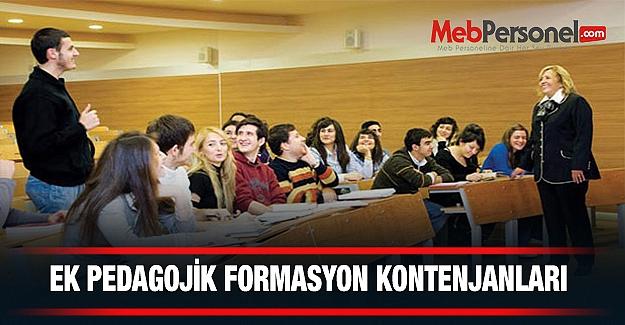 Ek Pedagojik Formasyon Kontenjanları