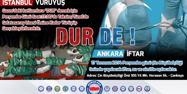 Gazze ve Doğu Türkistan İçin Alanlardayız