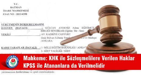 Mahkeme: KHK ile Sözleşmelilere Verilen Haklar KPSS ile Atananlara da Verilmelidir