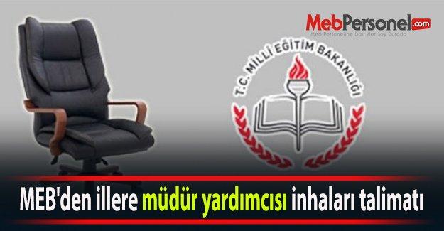 MEB#039;den illere müdür yardımcısı inhaları talimatı