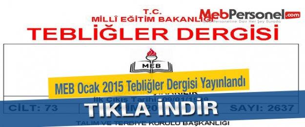MEB Ocak 2015 Tebliğler Dergisi Yayınlandı - TIKLA İNDİR