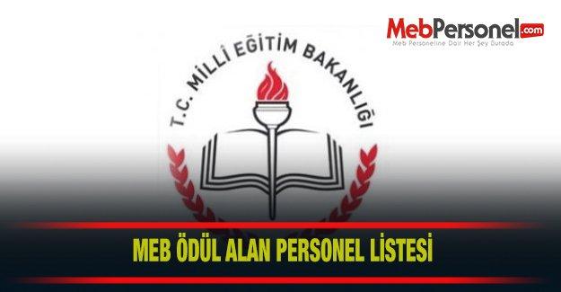 MEB Ödül Alan Personel Listesi