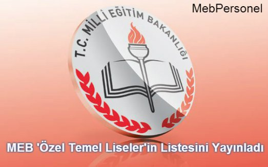 MEB Özel Temel Liselerin Listesini Yayınladı