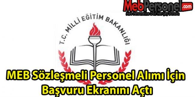 MEB Sözleşmeli Personel Alımı İçin Başvuru Ekranını Açtı