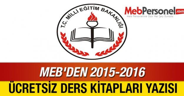 MEB'DEN 2015-2016 ÜCRETSİZ DERS KİTAPLARI YAZISI