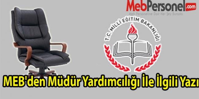 MEB'den Müdür Yardımcılığı İle İlgili Yazı