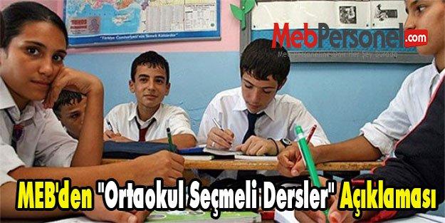 MEB'den ''Ortaokul Seçmeli Dersler'' Açıklaması