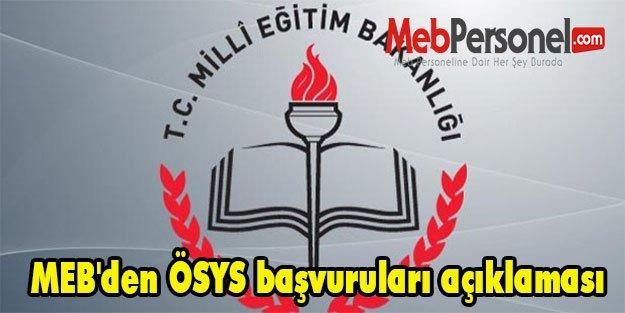 MEB'den ÖSYS başvuruları açıklaması