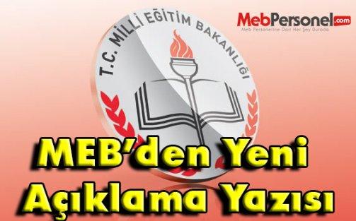 MEB'den Yeni Bir Açıklama