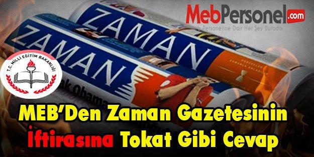 MEB'den Zaman Gazetesinin İftirasına Tokat Gibi Cevap