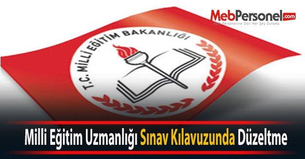 Milli Eğitim Uzmanlığı Sınav Kılavuzunda Düzeltme