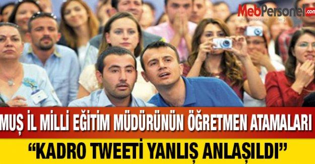 Milli Eğitim Müdürünün Atama Tweeti Yanlış Anlaşıldı