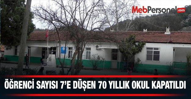 Öğrenci sayısı 7'ye düşen 70 yıllık okul kapatıldı