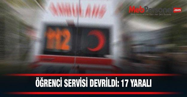 Öğrenci servisi devrildi: 17 öğrenci yaralı
