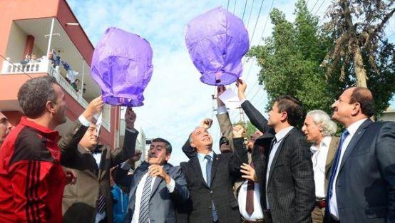 Öğretmene şiddete dilek balonuyla protesto