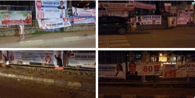 Okul Duvarları  Adeta Siyasi Pankartlar İle Donatıldı.