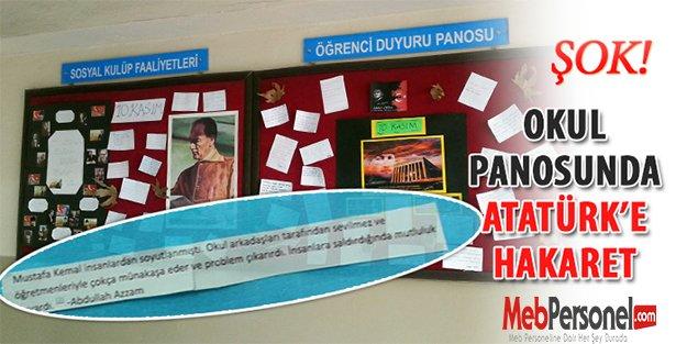 Okul panosunda Atatürk'e hakaret