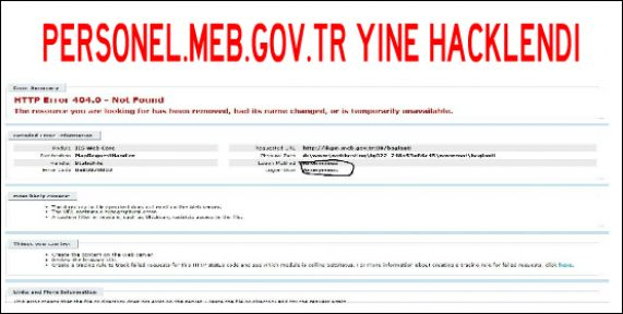 Personel Meb Sitesi Yine Hacklendi