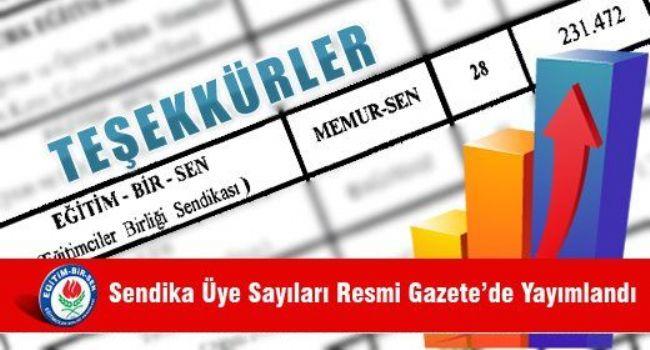 Sendika Üye Sayıları Resmi Gazete'de Yayımlandı