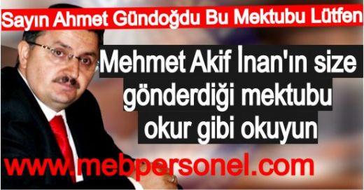 Şubat Ataması İçin Ahmet Gündoğdu'ya  Mektup