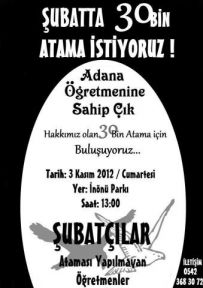 Şubat'ta 30 Bin Öğretmen Atama İçin Adana'da Buluşalım