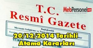 20/12/2014 Tarihli Atama Kararları