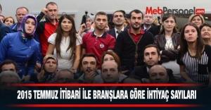 2015 Temmuz itibariyle  Branşlara Göre İhtiyaç Sayıları.