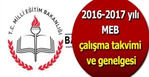 2016-2017 yılı MEB çalışma takvimi...