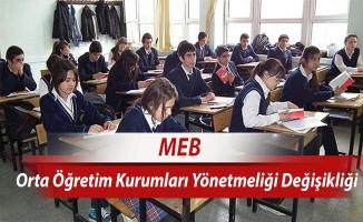 MEB, Ortaöğretim Kurumları yönetmeliğini değiştirdi