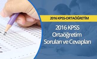 2016 KPSS Ortaöğretim  Soruları ve Cevapları