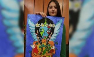 Lise öğrencisi yaptığı resimle dünya birincisi oldu
