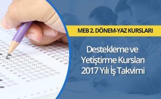 MEB, 2017 Destekleme ve Yetiştirme Kursları İş Takvimi