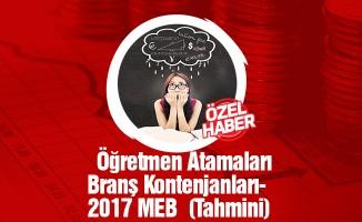 Öğretmen Atamaları Branş Kontenjanları- 2017 MEB (Tahmini)