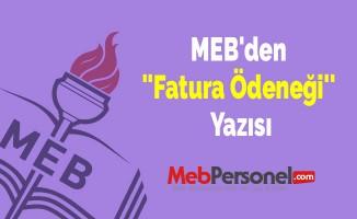 MEB'den ''Fatura Ödeneği'' Yazısı