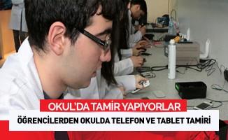 Öğrencilerden okulda akıllı telefon ve tablet tamiri