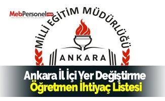 Ankara İl İçi Yer Değiştirme Öğretmen İhtiyaç Listesi