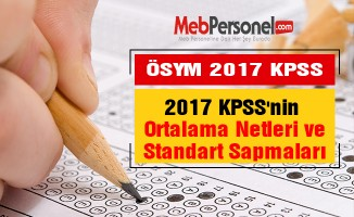 2017 KPSS'nin Ortalama Netleri ve Standart Sapmaları