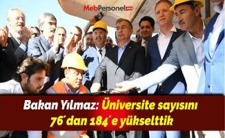 Bakan Yılmaz: Üniversite sayısını 76´dan 184´e yükselttik