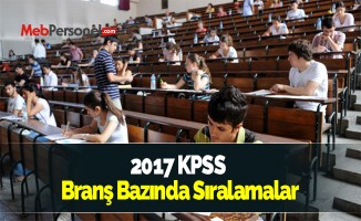 2017 KPSS Branş Bazında Sıralamalar Açıklandı