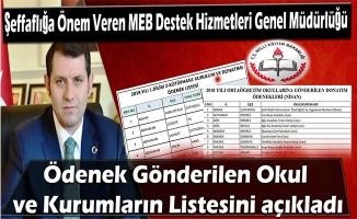 Şeffaflığa Önem Veren MEB Destek Hizmetleri Genel Müdürlüğü Ödenek Gönderilen Okul ve Kurumların Listesini açıkladı