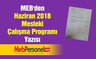 MEB'den ''Haziran 2018 Mesleki Çalışma Programı'' Yazısı