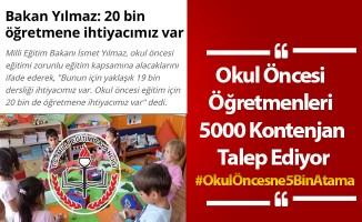 Okul Öncesi Öğretmenleri 5000 Kontenjan Talep Ediyor