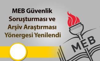 MEB Güvenlik Soruşturması ve Arşiv Araştırması Yönergesi Yenilendi