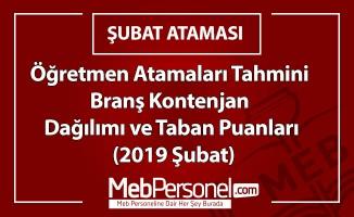 Öğretmen Atamaları Branş Kontenjan Dağılımı ve Taban Puanları  (Tahmini-2019 Şubat)