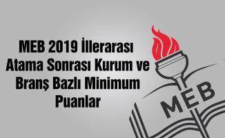 MEB 2019 İllerarası Tayin Sonrası Oluşan Kurum Bazlı Minimum Puanlar