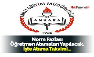 Ankara'da Norm Fazlası Öğretmen Atamaları Yapılacak. İşte Atama Takvimi...