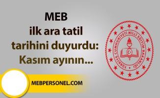 MEB ilk ara tatil tarihini duyurdu: Kasım ayının...